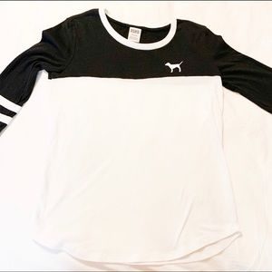 VS PINK Varsity Crew Shirt black and white small